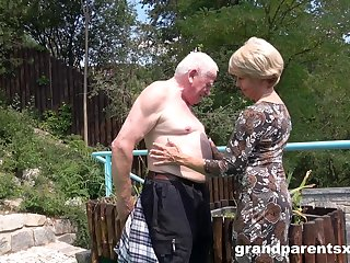 Old dude sticks his dick back a younger girl's pussy back gone away from