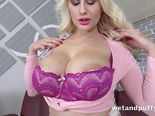 Mega busty blonde Wicky is pissing plus masturbating wet cunt