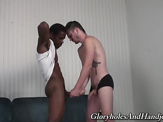 Black dude grants young twink the toothsome BBC