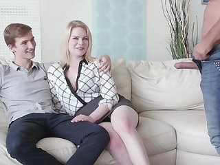 Cuckold boyfriend watches his GF Adry Berty having sex forth a stranger