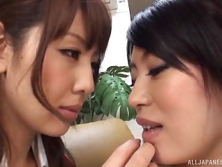 Adorable babes from Japan know how in the world to pleasure each other's cravings