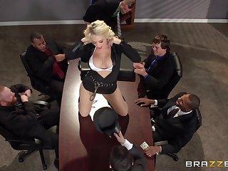 Busty pretty good secretary Kagney Lynn Karter fucked on the table