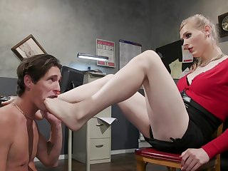 Tranny acts dominant with their way misdirect slave in a extraordinary cam play