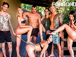 FORBONDAGE - BDSM Party By The Pool With Sexy Loren Minardi