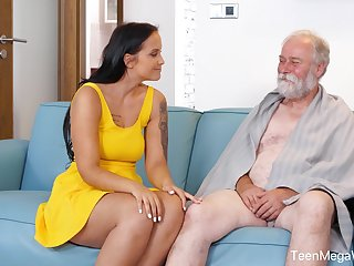 An elderly man is seduced by a tall curvy young woman and that babe loves sex