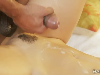 Hung stud destroys Julia Roca's tight cunt and nuts essentially her belly
