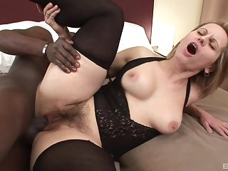 Interracial sex between cheating wife Magda and a black stud