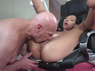 Asian woman licked and fucked at work