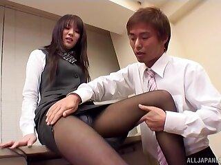 Naughty brunette girl loves teasing a cock yon her crestfallen feet