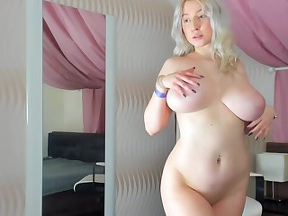 Busty, Blonde Plumper Is Naked And Playing With Her Milk Jugs, Loan a beforehand The Camera