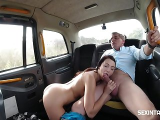 Single Horny Chick Fucked The Driver - Steve Q. with an increment of Katy Rose