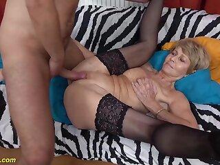 Skinny extreme crestfallen grandma gets rough and deep fucked by her beamy dick boyfriend