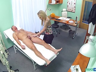 Passionate shafting between a doctor and downcast blonde Angel Piaff
