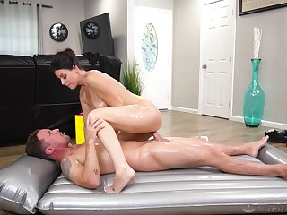 Energized dame rides the young sweetheart and sucks his sperm with regard to the end