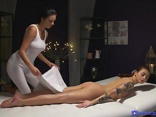 Oiled knead turns into lesbian copulation - Foxxi Black and Dominika Dark