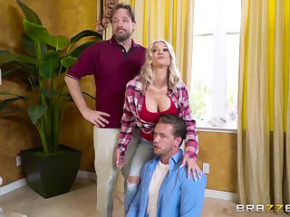 Energized blonde gags and fucks hubby's mould friend in a home cuckold