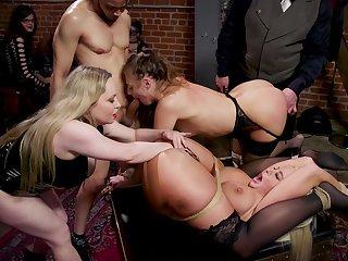 Hardcore BDSM group coitus in public