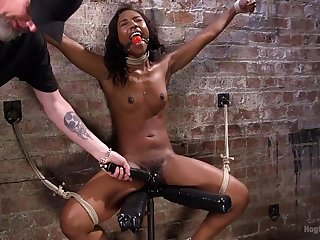 Dirty pervert plighted ebony hottie Chanell Heart to torture her