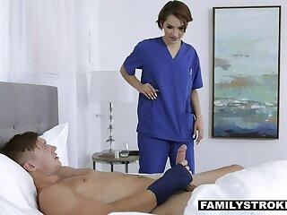 Nurse stepsister Natalie Porkman helps her stepbrother to jerk off cock