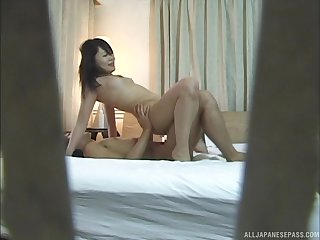 Amateur lovemaking in the evening with a slender Japanese babe