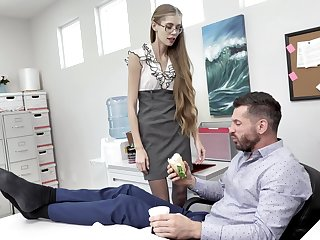 Nerdy secretary finds it intriguing to fuck with an obstacle boss