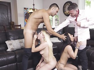 Alessia Luna added to Nikki Sweet's peculiar foursome with their stepfathers