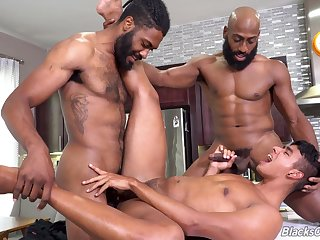 Black dudes ass fuck Latino gay male in crazy threesome