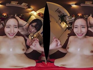 POV VR threesome hardcore with regard to Japanese babes - Big natural titties
