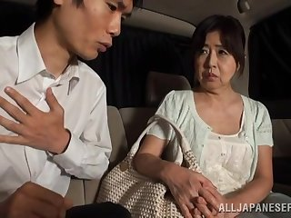Dirty Japanese matured gives a blowjob and gets fucked in van