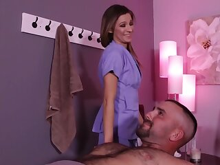Skinny young mistress binds a guy respecting milk him on tap rub-down parlor