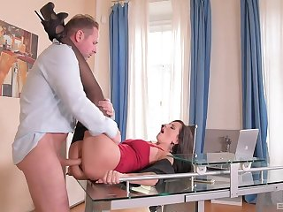 Unforgettable brunette engages in satiating office shagging