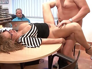 Mature gets a double dose handy the office