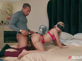 Blindfolded girlfriend Abella Danger gets fucked hard from behind