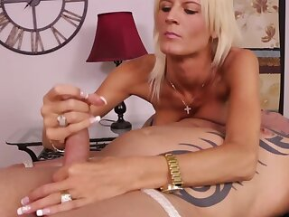Fearless Olivia Blu gives a handjob to the tied up client