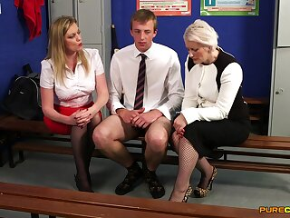 Lad stroked in eradicate affect locker room by Holly Kiss and Sally Cream
