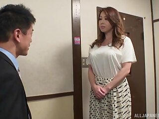 Bring to light busty Japanese wife treats himself with a pretty big dong