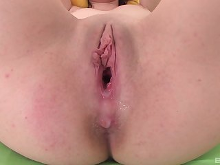 Teen brunette babe Morghan gets her tight pussy gaped and creampied