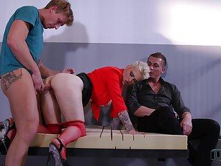 Short haired blonde slut Mila Milan gets two huge cumshots