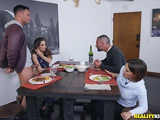 Flexible babes Krissy Lynn and Kimmy Granger pounded by one lucky guy