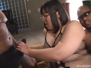 Chubby Asian babe Yurino Hana double penetrated by big black cocks