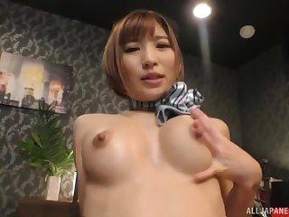 Busty Japanese maid Natsuki Minami pussy pounded hardcore on the bed