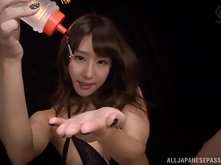Japanese babe Ayami Shunka sucks a cock in erotic lingerie