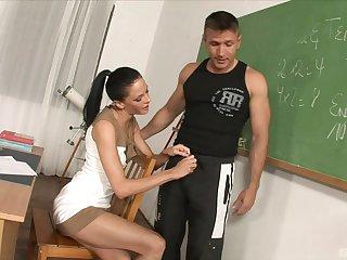 Brunette babe Aliz fucks a hard cock in high heels