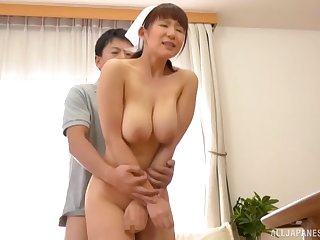 Hardcore missionary fuck with a Japanese brunette nurse Sakurano Yuina