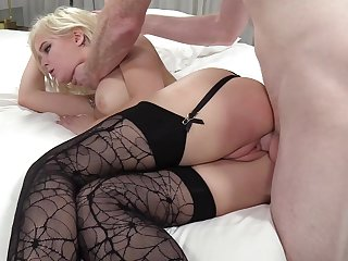 Rough deep throat and doggy style fuck for blonde slut Natalia