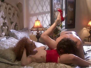 Nasty redhead in high heels Audrey Hollander ass and throat fucked