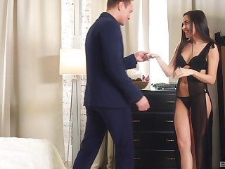 Brunette MILF Carry Cherry gets her tight ass all covered in cum