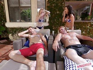 Emma Starletto and Natalie Brooks swap boyfriends and swallow their cum