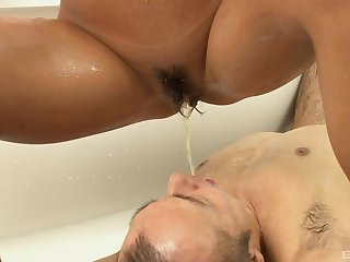 petite Japanese blonde beauty Rica rides cock in a soapy bathtub