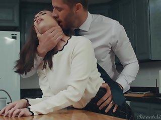 Casey Calvert craving for her ex's  penis deep inside her in the kitchen